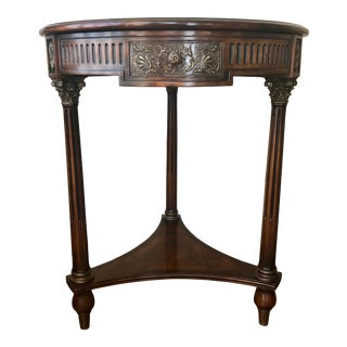 English Traditional Theodore Alexander Flames in Corinth Essential Round Mahogany Table For Sale
