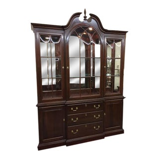 Ethan Allen Full Bonnet Solid Cherry China Cabinet For Sale