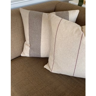Italian FirmaMenta Eco-Friendly Pink and Brown Stripes Wool Pillow Preview