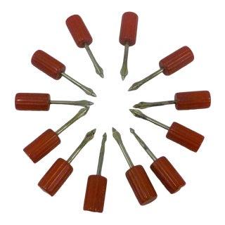 MidCentury Red Bakelite Kob Knobs 1930s Corn Cob Holders Set of 12 For Sale