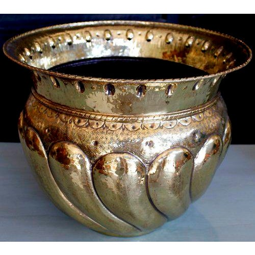 Large Brass Repousée Cachepot With Bold Gadrooning For Sale - Image 5 of 7