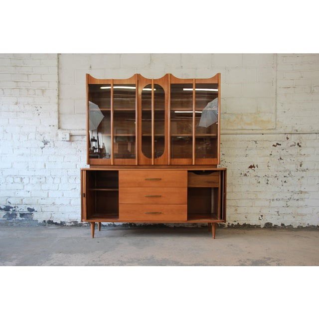 Mid-Century Modern Tambour Door Sideboard Credenza with Glass Front Hutch Top For Sale - Image 4 of 11