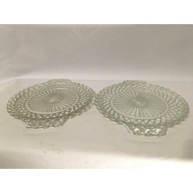 Clear Cut Glass Serving Trays - A Pair - Image 3 of 7