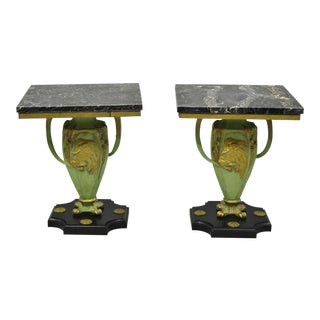 French Art Nouveau Green Black Metal Lion Floral Urn Marble Top End Tables - A Pair