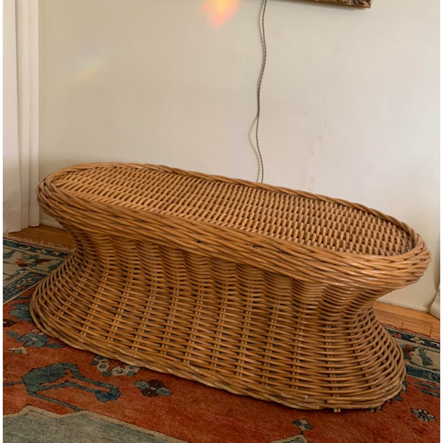 1970s Vintage Wicker Coffee Table For Sale - Image 5 of 8
