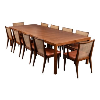 Mid-Century Modern Edward Wormley Dining Set 10 Chairs and Parsons Table by Dunbar For Sale