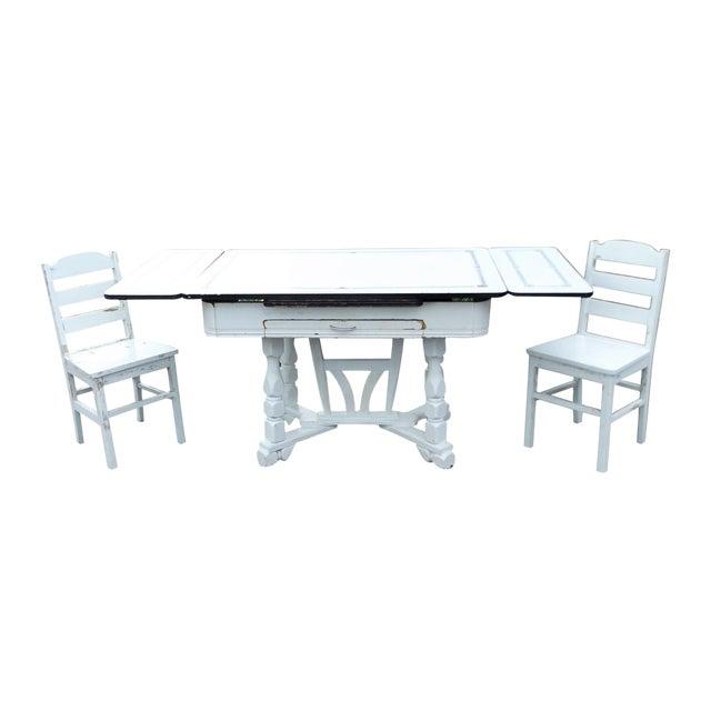 White Porcelain Expandable Farmhouse Table Set - Image 1 of 11