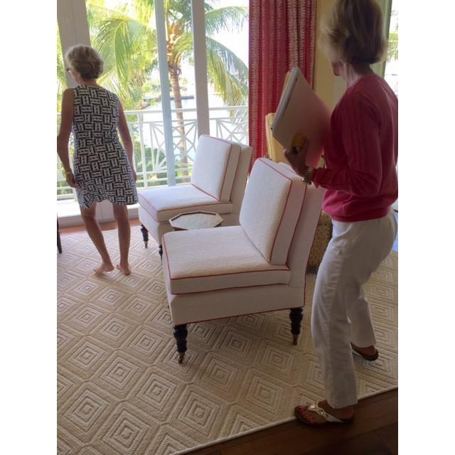 Brunschwig & Fils Custom Brunschwig & Fils Slipper Chairs - a Pair For Sale - Image 4 of 5