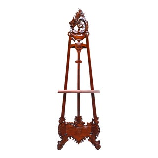 Victorian Acanthus Motif Hand-Carved Mahogany Floor Display Art Easel For Sale
