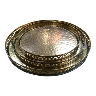 Set of 3 Round Full Hammered Brass Trays