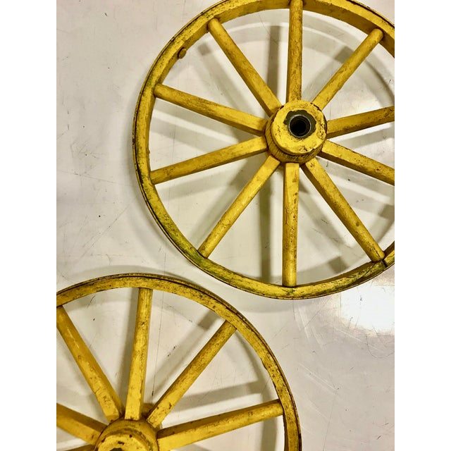 Folk Art Folk Art Painted Wagon Wheels - a Pair For Sale - Image 3 of 7