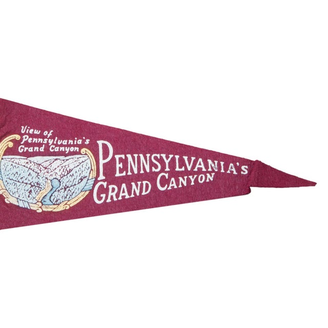 Charming and rare felt flag banner pennant of Pennsylvania's Grand Canyon, circa 1950s. Featuring graphic of a view of...