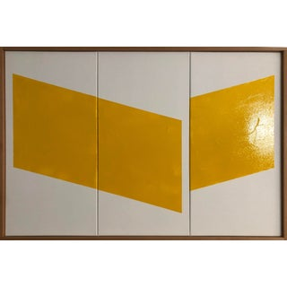 "Original Acrylic Painting ""Yellow Disjointed Triptych Jet0601"" For Sale"
