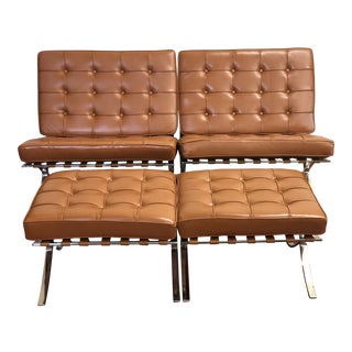 Vintage Early Barcelona Chairs & Ottomans Styled after Ludwig Mies Van Der Rohe - 4 Piece Set For Sale
