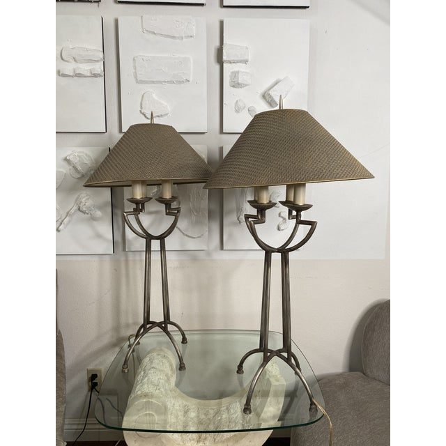 1970s Woven Shade Iron Lamps - a Pair For Sale - Image 9 of 9