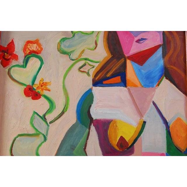 Original Vintage 70's Cubist Portrait Painting - Image 2 of 6