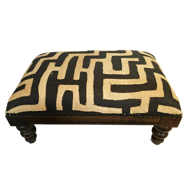 African Kuba Applique Textile Low Stool For Sale In New York - Image 6 of 9