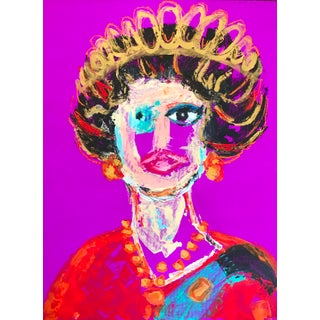 Expressionist Queen Elizabeth II Portrait Painting For Sale