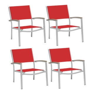 Outdoor Sling Lounge Chair, Vintage and Red (Set of 4) For Sale