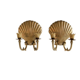 Pair of Brass Clam Shell Wall Sconces For Sale