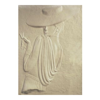 """David Fisher """"Hat and Gloves"""" Postmodern Embossed Paper Wall Sculpture"""