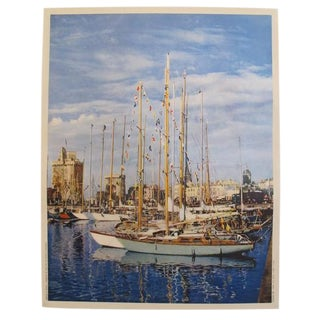 1955 Vintage Original La Rochelle Travel Poster - Sailboats For Sale
