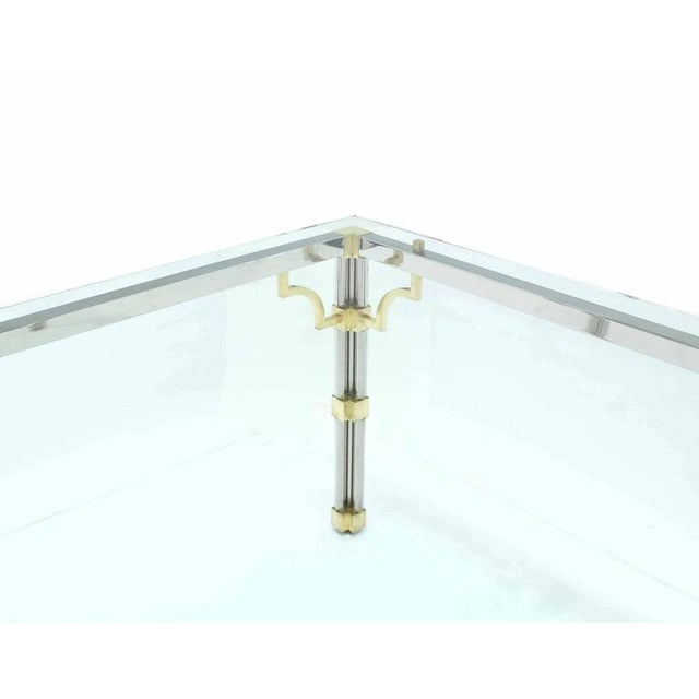 Early 20th Century Glass Top Rectangle Chrome Brass Dining Conference Table For Sale - Image 5 of 7