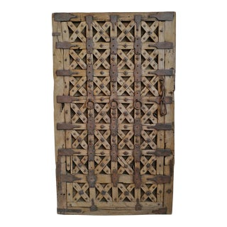 Indian Old Wood Iron X Door Panel For Sale