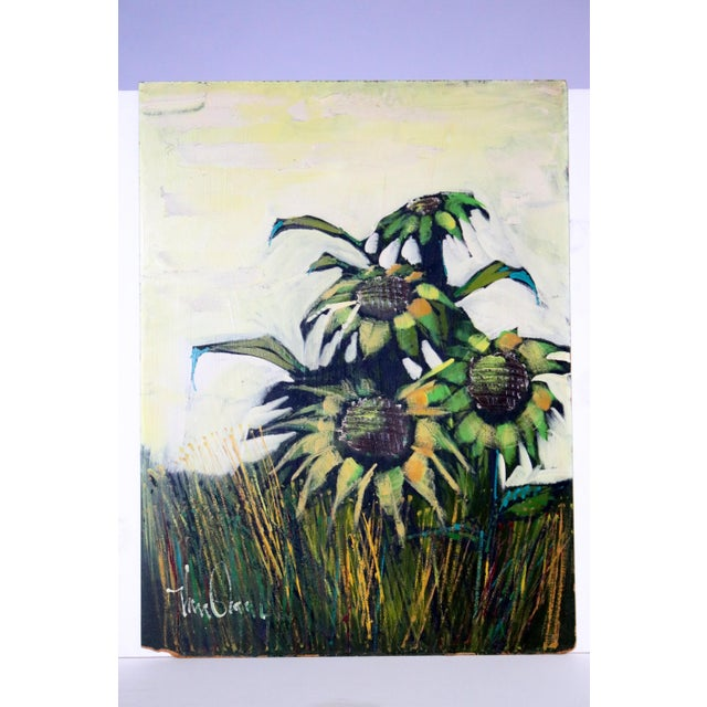 Mid-Century Original Sunflowers Painting on Board For Sale - Image 5 of 5