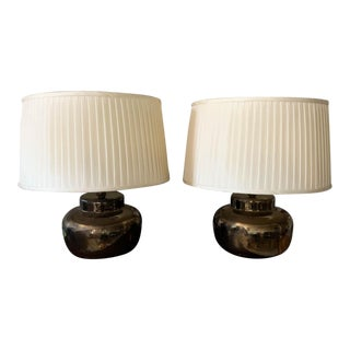 Pair, Mid Century Bronze Glaze Ceramic Lamps For Sale