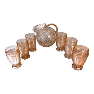 1940s Anchor Hocking Pink Manhattan Ribbed Tilted Glass Pitcher & Tumblers Glasses - Set of 7 For Sale