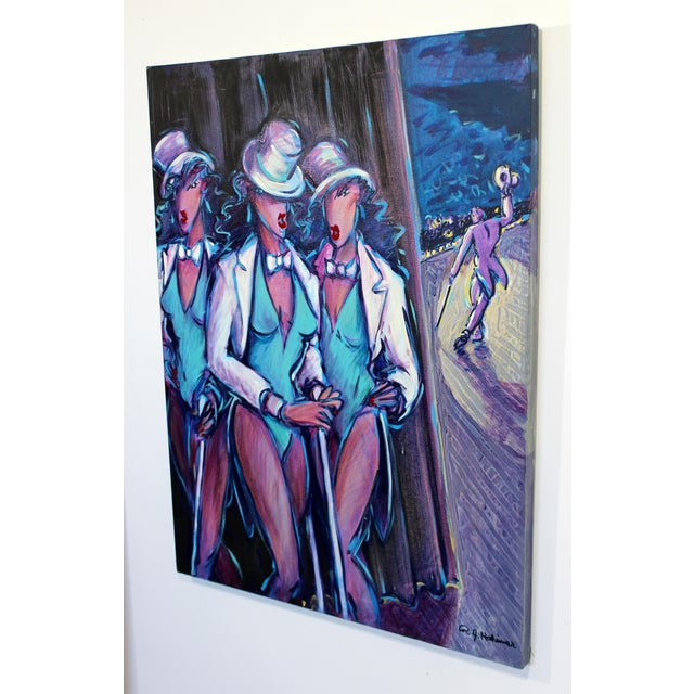 "For your consideration is a fabulous, textured acrylic painting, entitled ""3 Graces Backstage,"" signed and dated 1989. In..."