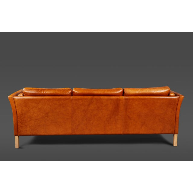 Mid-Century Modern A Handsome Leather Scandinavian Sofa For Sale - Image 3 of 6