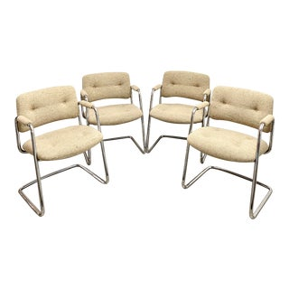 Vintage Steelcase Chrome Cantilever Side Chairs - Set of 4 For Sale