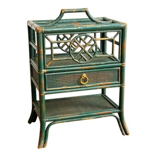 Vintage Green Painted Rattan Bamboo Magazine Rack