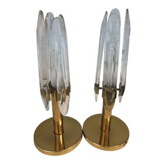 Sciolari Brass & Etched Glass Table Lamps - A Pair For Sale