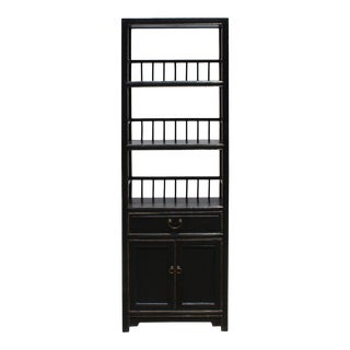 Chinese Distressed Black Slim Display Bookcase Curio Cabinet For Sale