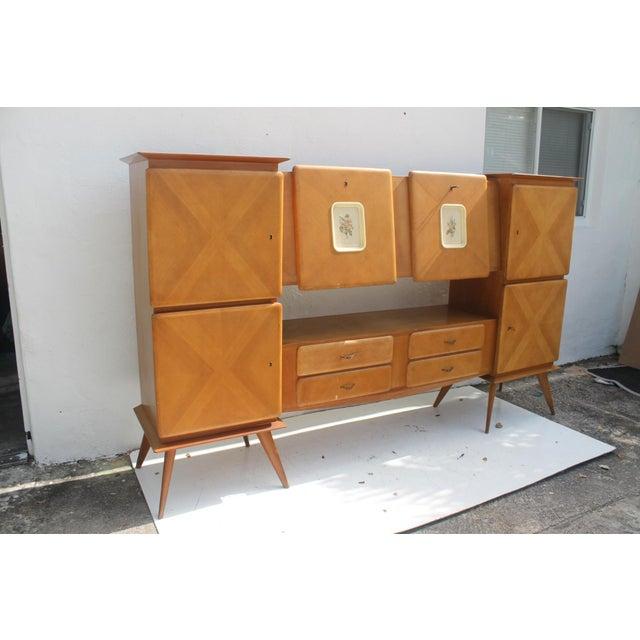 Italian Piero Fornasetti Style Italian 1950's Oak Bar Credenza For Sale - Image 3 of 11