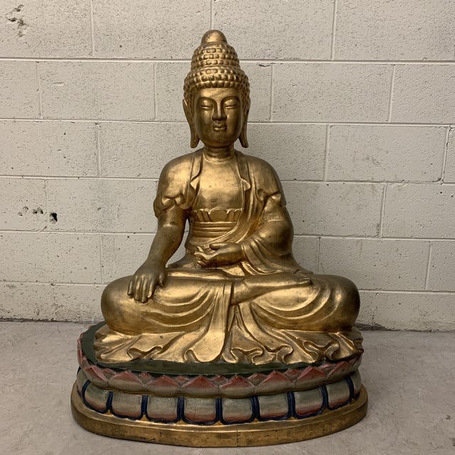 Lifesize Hand Carved Solid Wood Gold Leaf Buddha For Sale - Image 13 of 13