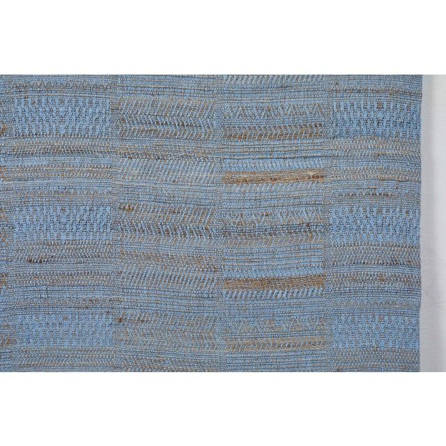 Indian Handwoven Bedcover Hand Blue For Sale - Image 4 of 5