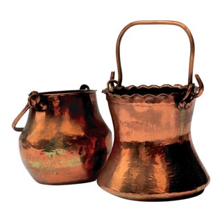 Vintage Turkish Hammered Copper Pots 2