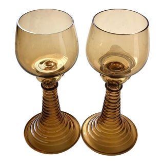1950s Roemer Antique German Amber Beehive Stems Wine Glasses Goblets - a Pair For Sale
