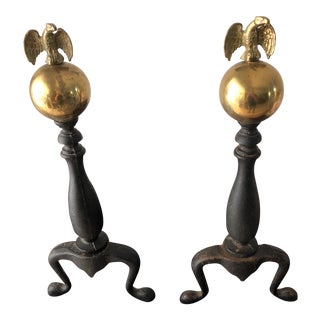Vintage Globe Eagle Andirons - a Pair
