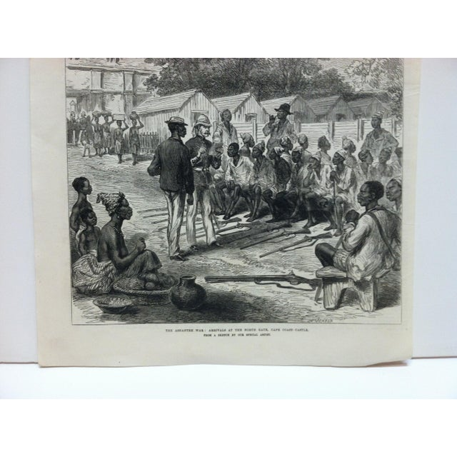 "English 1874 Antique Illustrated London News ""The Ashantee War: Arrivals at the North Gate - Cape Coast Castle"" Print For Sale - Image 3 of 5"