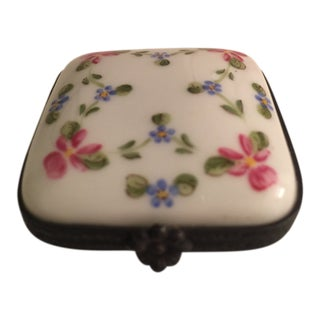 Vintage Limoges Floral Hinged Box For Sale