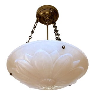 "Floral Alabaster Dish Ceiling Light From Charles Edwards - 22.75"" Drop For Sale"