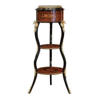 19th Century, French Napoleon III Inlay Rosewood Plant Stand With Brass Mounts For Sale