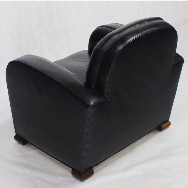 Mid-Century Modern Deco Style Black Leather Thick Arm Rests Lounge Tank Chairs - a Pair For Sale - Image 3 of 10
