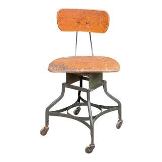 Industrial Uhl Steel Toledo Metal Furniture Drafting Chair For Sale