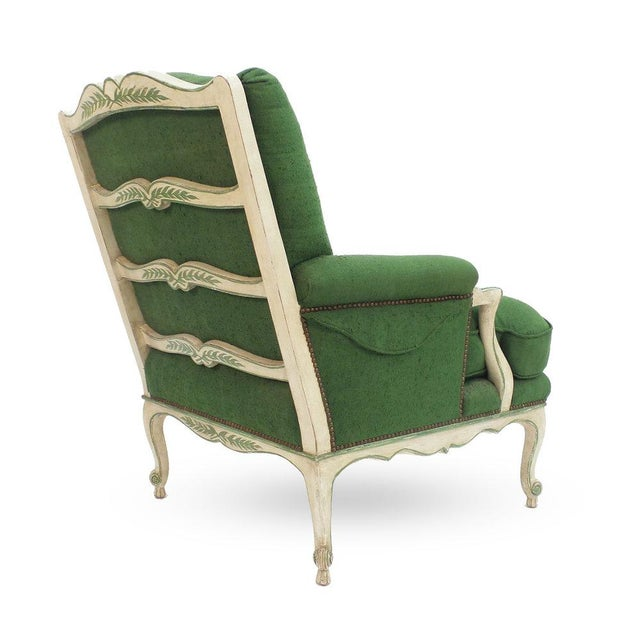 Textile Ladder Back Bergere Armchair For Sale - Image 7 of 7